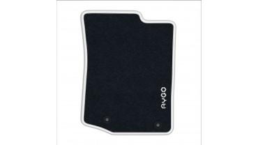 Jeu de tapis avant et arrière - Velours anthracite 520g/m² contour blanc pur pur
