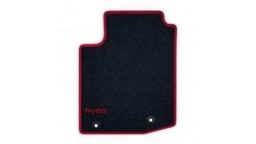 Jeu de tapis avant et arrière - Velours anthracite 520g/m² contour rouge chilien